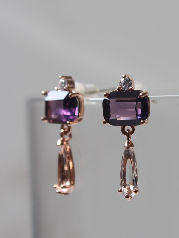 Amethyst Classic Drop Earrings Jewellery by Parkside for Sally Bourne Interiors London