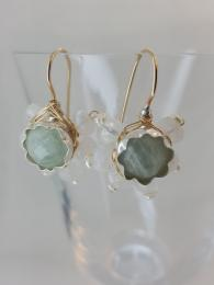 Aqua Moonstone Flower Earrings Jewellery Jewelry Semi precious gemstones Sally Bourne Interiors London Muswell Hill