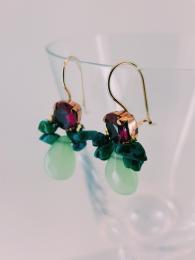Bee Earrings Fuchsia & Light Green Crystal Silver Goldfill Semi precious Stone UK