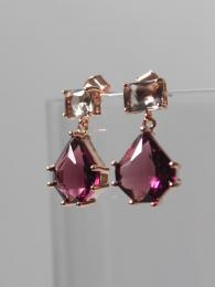 Black with Amethyst Drop Earrings Jewellery by Parkside for Sally Bourne Interiors London