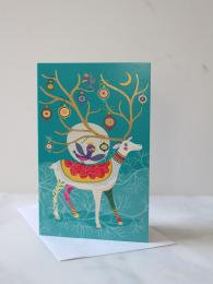 Roger La Borde Folksy Reindeer 8 Pack Christmas Cards at Sally Bourne Interiors London