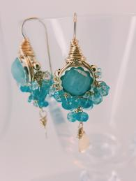 Goddess Earrings Aquamarine Semi Precious Stone Gold-fill Silver gold