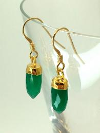 delicate drop earrings made from gold plated brass and faceted green onyx.
