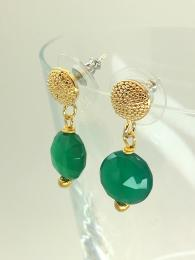 A pair of stud, drop earrings made from gold plated brass, featuring a round, faceted, Green Onyx gemstone.