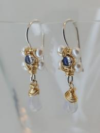 Labradorite and Pearls Jasmine Earrings Jewellery Jewelry Semi precious Gemstone Sally Bourne Interiors London Muswell Hill