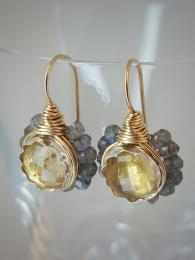 Labradorite and Citrine Flower Earrings 183 Ottomania Jewellery at Sally Bourne Interiors London