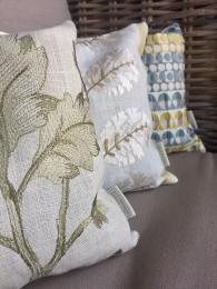 Large Linen Lavender Pillows Designer Fabric Sally Bourne Interiors London