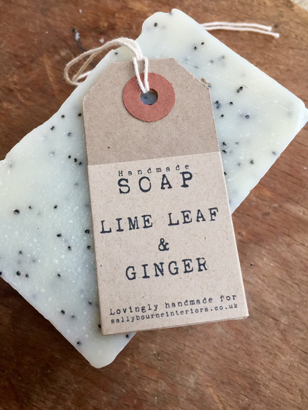 Handmade Lime leaf and ginger scented soap sally bourne interiors London organic devon clovelly