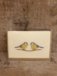 Penny Lindop Mini Blue Tits Card at Sally Bourne Interiors London Muswell Hill Greetings Card