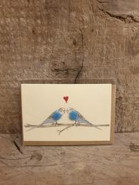 Penny Lindop Mini Love Budgies Card at Sally Bourne Interiors London Muswell Hill