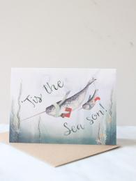 Mister Peebles Tis the sea son Narwhal Card at Sally Bourne Interiors Muswell Hill London Greetings Card