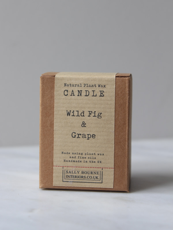 Sally Bourne Interiors Boxed Candle scented votive wild fig and grape all natural ingredients