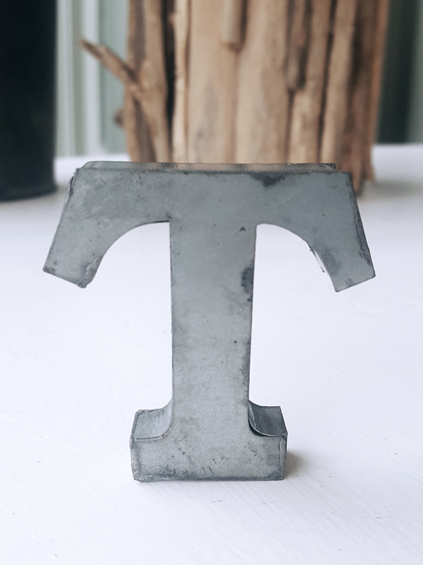 Zinc Letter T Metal Alphabet Sally Bourne Interiors London