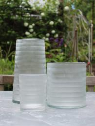 RST Striped Ice Glass Collection Vase Hurricane Votive