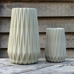 Grey Faceted Vase