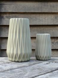 HU Grey Faceted Vase Pair Large Small