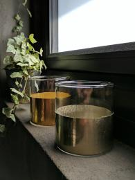SHI Half Metallic Votive Tealight Silver Brass glass jar