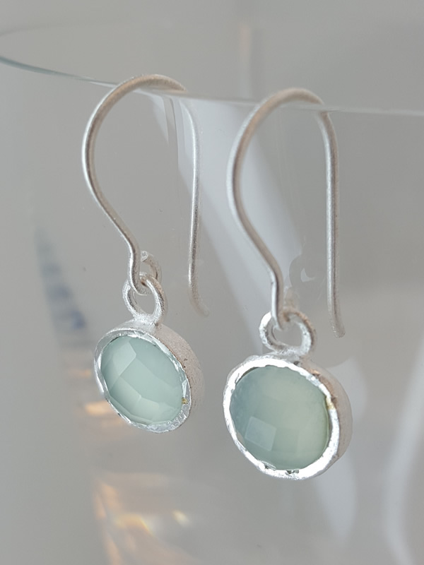 Pomegranate Jewellery small Silver Drop Earrings Aqua Chalcedony Gemstone silver gold plate jewelry London Muswell Hill