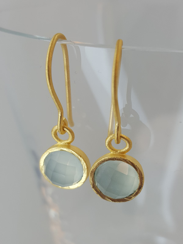 Pomegranate Jewellery small gold plate Drop Earrings Aqua Chalcedony Gemstone silver gold plate jewelry London Muswell Hill