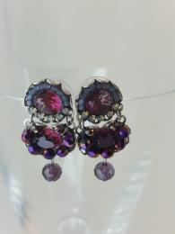 Ayala Bar Earrings 1227 silver purple semi precious stones sally bourne interiors london UK designer jewellery jewelry