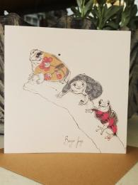 BONJOUR FROGS CARD Greetings cards Anna Wright Art Press Birthday Card Sally Bourne Interiors London