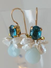 Bee Earrings Blue Crystal Pearl Amazonite Ottomania Jewellery Gemstone Sally Bourne Interiors London