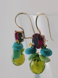 Bee Earrings Fuchsia Crystal, Turquoise Silver Goldfill Semi Precious Stone UK