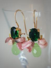 Bee Earrings Green Crystal, Rhodonite 258 Ottomania Sally Bourne Interiors Gemstone Goldfill Gold Silver