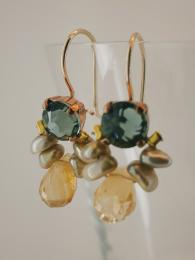 Bee Earrings Grey Crystal Citrine Silver Gold fill Semi Precious Stone UK