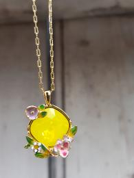 Bill Skinner Nature Yellow Rose Pendant Necklace