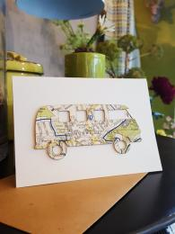 Camper Van Map Card Birthday Card Greetings Handmade Cards at Sally Bourne Interiors London