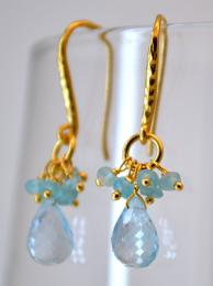 Gold Plate Hook Semi Precious Drop Earring blue topaz
