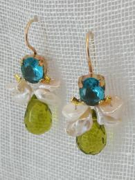Bee Earrings Pearl Green/Blue Crystal Christmas gift for her Sally Bourne Interiors London Muswell Jewellery Jewelry