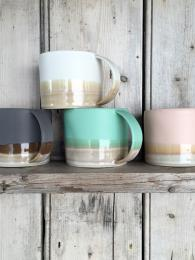 Emma Lacey Rainbow Mugs Ceramics Sally Bourne Interiors London coloured
