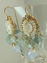Ottomania earrings, handmade in Israel. 14ct Gold-filled gold, sterling silver, constant sheen.  Aquamarine and ethnic pearls, opalescent gemstone with elegant drop. Perfect for any occasion, statement earrings, dress up any outfit. Clusters of beads.