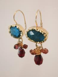 Eye Earrings Labradorite and Garnet Goldfill Silver Jewellery