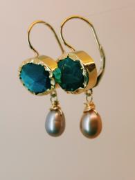 Eye Earrings Labradorite and Pink Pearl Goldfill Silver Semi Precious Stone