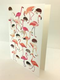 A fun greetings card featuring drawings of flamingoes and hedgehogs, blank inside for your own message.