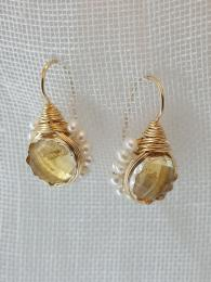 Flower Citrine and Pearls Earrings jewellery jewelry semi precious gemstone sally bourne interiors
