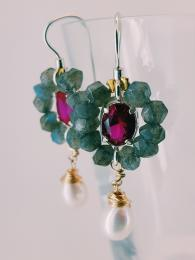 Flower Earrings Labradorite Fuchsia Crystal Silver Goldfill Semi Precious Stone UK