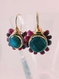 Flower Earrings Ruby & Labradorite Semi Precious Stone UK Sally Bourne Inteirors