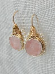 Flower Rose Quartz Pearls Earrings Jewellery Jewelry Sally Bourne Interiors London UK