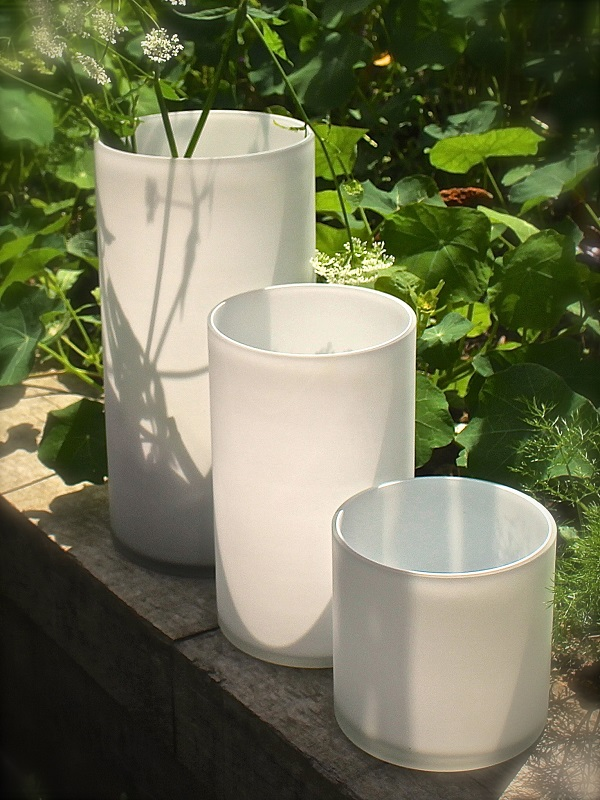 Frosted White Glass Cylinder Vases