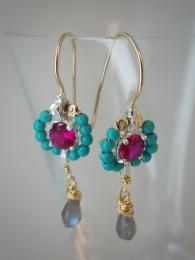 Fuchsia & Turquoise Flower Earrings 122 Ottomania Jewellery Gemstone Sally Bourne Interiors