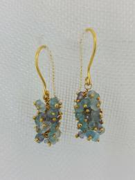 Gold Plate Sare Cluster Drop Earrings Sally Bourne Interiors London Jewellery Jewelry Semi Precious Stone