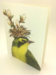 A quirky greetings card featuring a warbler song bird