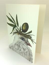 Blank greetings card featuring a dove with olives on its head