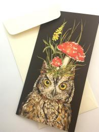 A quirky greetings card featuring an owl with toadstools on his head