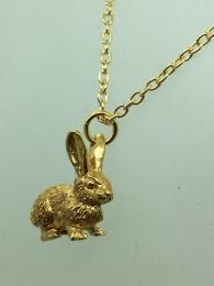Brass gold plated charm, Rabbit shape, matching chain available