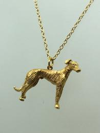 Brass gold plated charm, greyhound shape, matching chain available